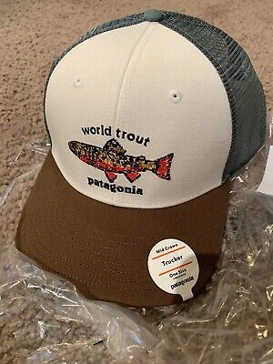 a18048fd Patagonia World Trout Brook Fish stitch Trucker Hat Mid Crown Fit Forge  Gray NWT