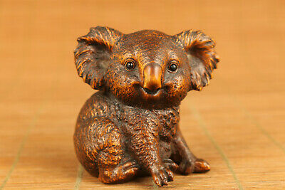 chinese old boxwood hand carved koala statue figure netsuke collectable