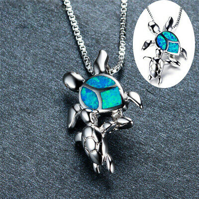 Fashion 925 Silver Mom Baby Pendant Turtle Blue Fire Opal Necklace Jewelry Gift