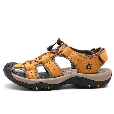 Men's Outdoor Sandals Hiking Camping Leather Fisherman Shoes Slip on Big Size 47