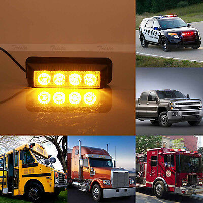 4 LED Amber Car Truck Emergency Beacon Hazard Strobe Flash Warning Light 12V New