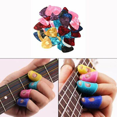 4 Guitar Fingertip Guards Bass Ukulele Thumb Finger Silicone Protectors + 5 Pick