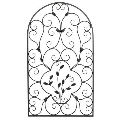 Arched Wrought Iron Wall Art Sculpture Vintage Style Indoor Outdoor Gate Decor