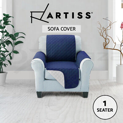 Artiss Sofa Cover Quilted Couch Covers Lounge Protector Slipcovers 1 Seater Navy