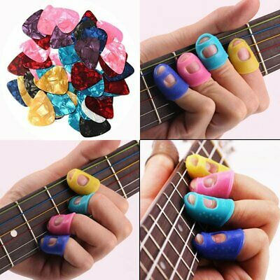 4 Guitar Ukulele Silicone Fingertip Guards Thumb Finger Protectors And 5 Pick UK