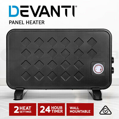 Devanti 2000W Electric Metal Panel Heater Convection Heating Timer Portable BK