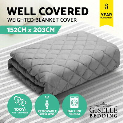 Giselle Bedding Cotton Weighted Blanket Zipped Cover Washable Adult 152x203cm