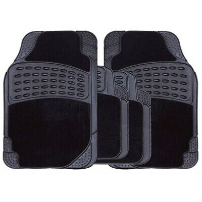 Delux Rubber Car Mat Set With Full Cross Rear SWCM101 Streetwize Quality Product