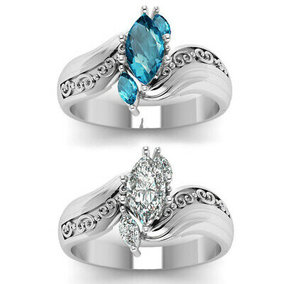 Silver Plated Horse Eye Zircon Ring Womens Wedding Engagement Rings Size 6-10