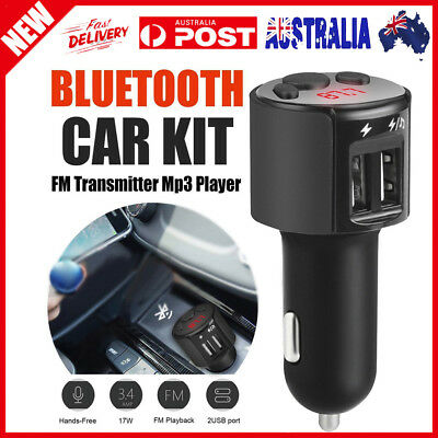 Bluetooth Car Kit FM Transmitter Wireless Radio Adapter USB Charger Mp3 New