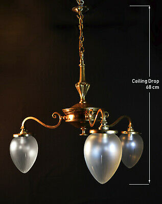 Stunning 1950s French empire style 3 arm brass chandelier frosted acorn shades