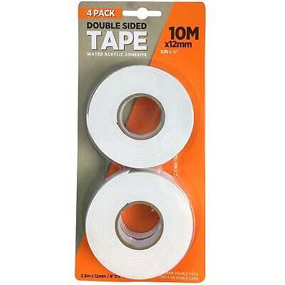 4 x 2.5 Metre Rolls Strong Double Sided Sticky Tape Acrylic Adhesive DIY Craft