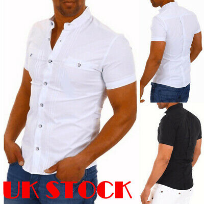 Men Henley Button Down Shirt Solid Color Slim Short Sleeve Cotton T-shirts Tops