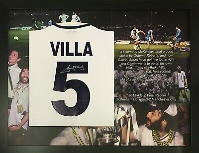 Framed Ricky Villa Signed Tottenham Spurs 1981 Fa Cup Final Football Shirt Proof