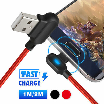 90° Right Angle Micro USB LED Fast Charging Data Cable For Android Phone 1M/2M