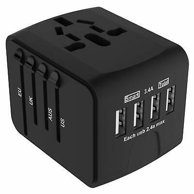 JOLLYFIT International Universal Travel Adapter 4 USB 2.4A Charger Black