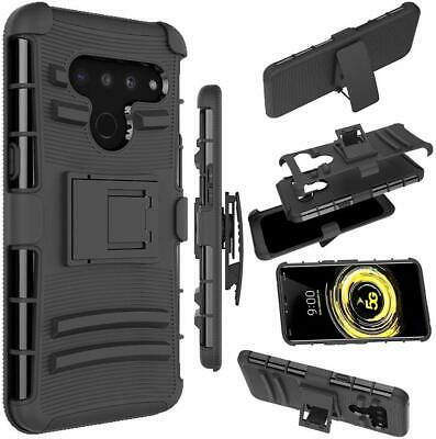 Black Heavy Duty Protection Hybrid Clip Holster TPU Case Cover For LG V50 ThinQ