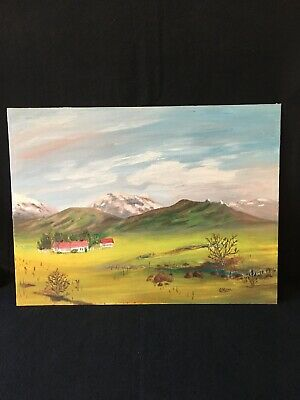 Oil on canvas painting of ranch & landscape 12 x 16 inches 1983 Hayward,CA
