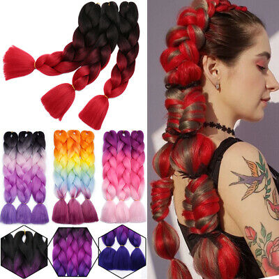 "24"" Ultra Kanekalon Jumbo Braiding Hair Extensions Ombre Red Straight Box Braids"