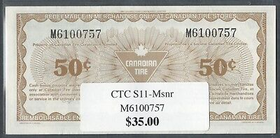 Canadian Tire Money - CTC S11-Msnr - M6100757 - Replacement