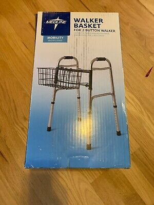NEW Medline Mobility Walker Basket for 2 Button Walker Rust Proof Coating