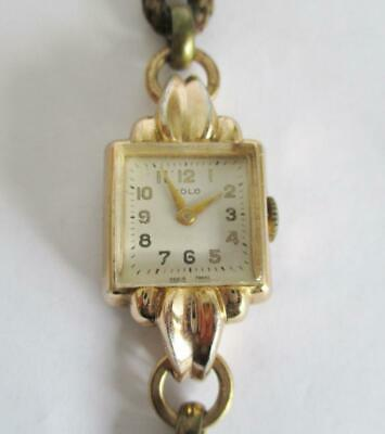 STYLISH VINTAGE LADIES SOLO WRISTWATCH 1950s FRENCH COCKTAIL WATCH WORKING +BOX