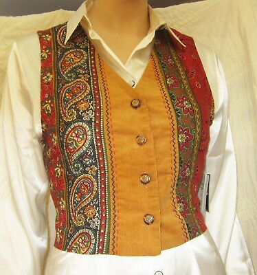 NWT Hippy Paisley Tuxedo Vest HAND-EMBROIDERED DETAIL Sz S USA Tie Back