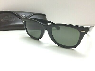 fa66d8be8a Bausch   Lomb vintage Black Ray Ban Wayfarer Sunglasses 5022 With Case VTG
