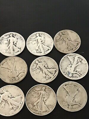 1916-1947 Walking Liberty Half Dollar XF/AU 9 Pieces