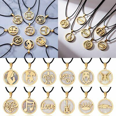Fashion Women Gold Stainless Steel Shell Necklaces Pendant Leather Chain Jewelry