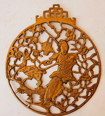 """Vintage Brass Carved Chinese Immortal and Deer Wall Plaque 11.5"""""""