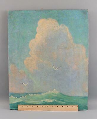 Antique CLARENCE BOLTON American Impressionist Seascape Seagulls Oil Painting NR