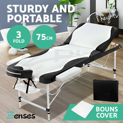 Zenses 70cm Portable Aluminium Massage Table Two Fold Treatment Beauty Therapy