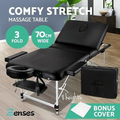 Zenses 70cm Portable 3 Fold Aluminium Massage Table Therapy Beauty Waxing Bed