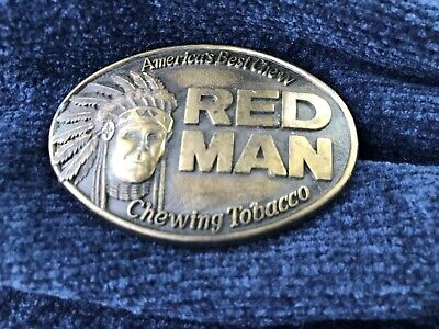 RED MAN THE PINKERTON TOBACCO COMPANY Vintage 1988 Brass Belt Buckle
