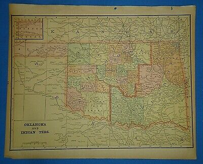 Vintage 1895 OKLAHOMA INDIAN TERRITORY Map Old Antique Original Atlas Map 50919