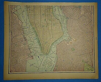 Vintage 1895 NEW YORK CITY - BROOKLYN Map Old Antique Original Atlas Map 50919