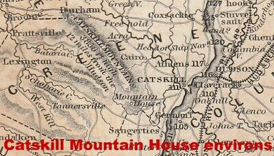 1847 map of Hudson River + Railroads, Catskill Mountain House area, Manhattan