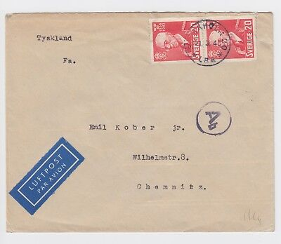 WW2 Stockholm to Germany 1943 Air Mail Censored Berlin Cover