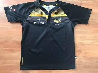 72d0b5fc7fc LONDON WASPS HOME Rugby Union Shirt 8- 12 YEARS BOYS Jersey Black ...