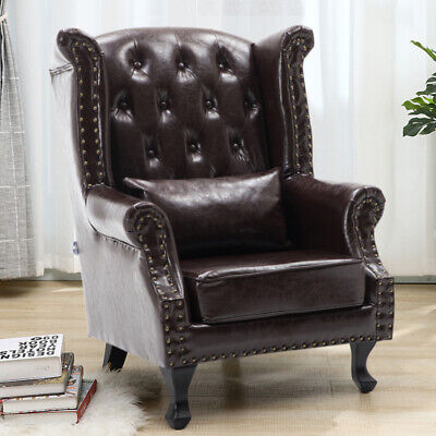 Leather Armchair Chair Lounge Antique High Back Anne Queen Sofa Seat Fireside