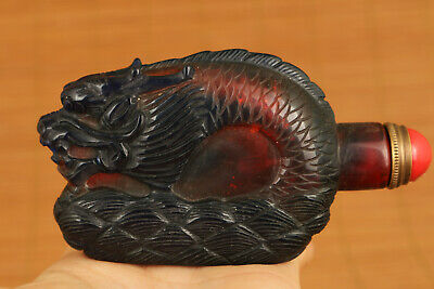 vintage Chinese Old Glaze Hand Carving dragon figure Statue snuff bottle gift