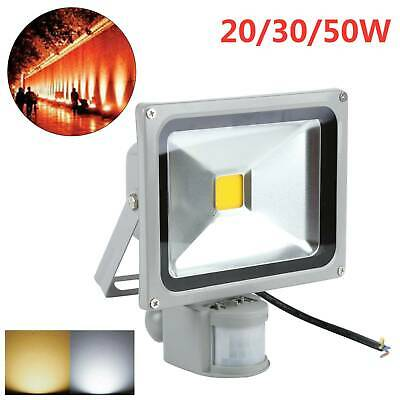 LED Floodlight 10/20/30/50W PIR Sensor Motion Security Flood Light Warm Cool PIR