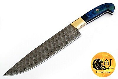 "13"" Custom Hand Forged Damascus Steel Chef Knife W/ Stained Wood Handle - Aj 447"