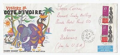1969 Cote D'Ivoire Touristic Elephant ADJAME Cover to Nassau Bahamas Illustrated