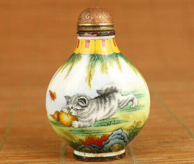 Rare Chinese old enamels Cloisonne Painting cat and dog Statue Snuff Bottle