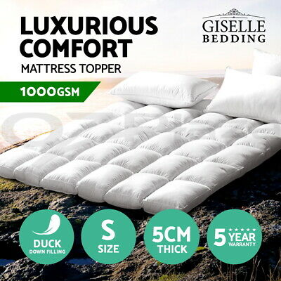 Giselle Bedding Mattress Topper Pillowtop Duck Feather Down 1000GSM Cover Single