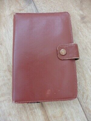 Superb used brown real leather vintage WHSmith filofax with loads of inserts