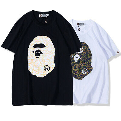 3afabb6d New Men's Bape A Bathing Ape Monkey Head Short Sleeve Crew Neck T-shirt Tee