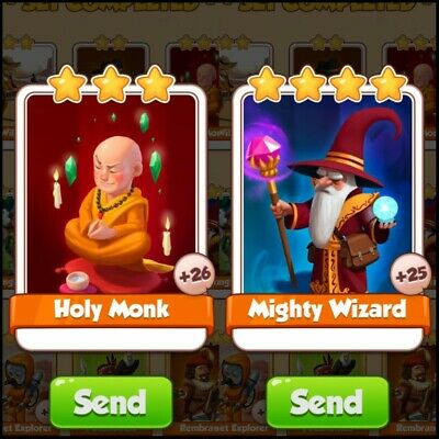 coin master card  mighty wizard +holy monk FAST send READ DESCRIPTION